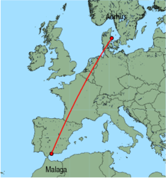 Map of route from Malaga to Aarhus