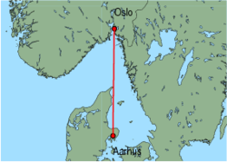 Map of route from Oslo(Rygge) to Aarhus