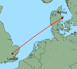 Map of route from London(Stansted) to Aarhus