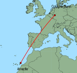 Map of route from Arrecife to Cologne-Bonn