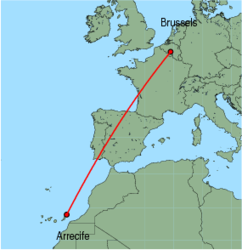Map of route from Arrecife to Brussels (Charleroi)