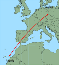 Map of route from Arrecife to Dresden