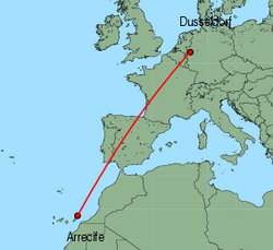 Map of route from Arrecife to Dusseldorf
