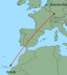 Map of route from Arrecife to Karlsruhe-Baden