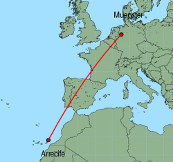 Map of route from Arrecife to Muenster