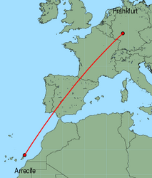 Map of route from Frankfurt&nbsp;(International) to Arrecife