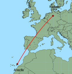 Map of route from Arrecife to Hanover