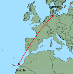 Map of route from Arrecife to Hamburg (Fuhlsbuettel)