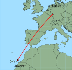 Map of route from Arrecife to Frankfurt (Hahn)