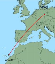 Map of route from Arrecife to Leipzig