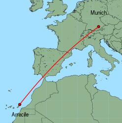 Map of route from Arrecife to Munich