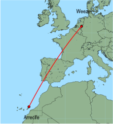 Map of route from Arrecife to Weeze