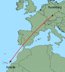 Map of route from Arrecife to Nuremberg