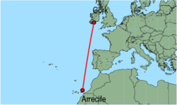 Map of route from Arrecife to Cork