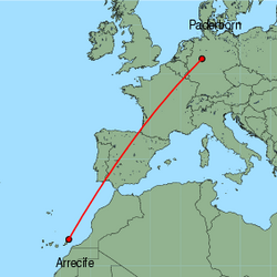 Map of route from Arrecife to Paderborn