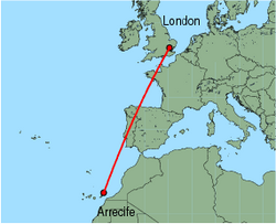 Map of route from Arrecife to London(Stansted)
