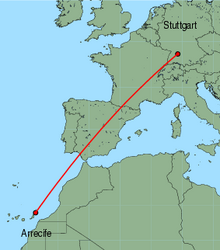 Map of route from Arrecife to Stuttgart