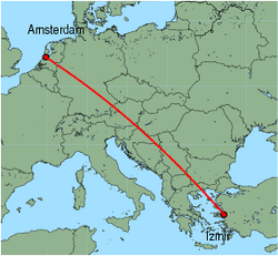 Map of route from Amsterdam to Izmir