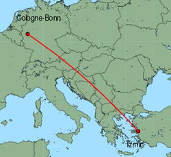 Map of route from Cologne-Bonn to Izmir