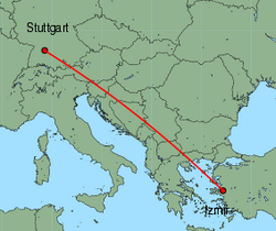 Map of route from Stuttgart to Izmir