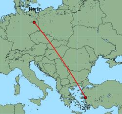Map of route from Izmir to Berlin(Schoenefeld)