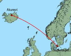Map of route from Copenhagen to Akureyri