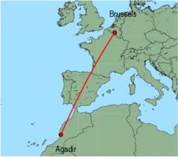 Map of route from Agadir to Brussels (Charleroi)