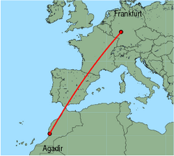 Map of route from Agadir to Frankfurt (International)