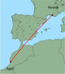 Map of route from Agadir to Marseille