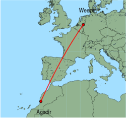 Map of route from Agadir to Weeze