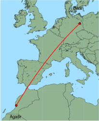 Map of route from Agadir to Berlin (Schoenefeld)
