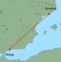 Map of route from Malaga to Barcelona