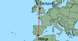 Map of route from Blackpool to Malaga