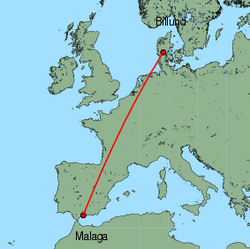 Map of route from Malaga to Billund