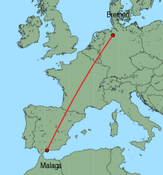 Map of route from Malaga to Bremen