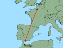 Map of route from Malaga to Paris (Beauvais)