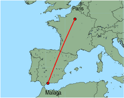 Map of route from Malaga to Paris (Charles de Gaulle)