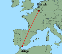 Map of route from Malaga to Brussels (Charleroi)