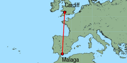 Map of route from Cardiff to Malaga