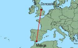 Map of route from Doncaster to Malaga