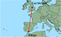 Map of route from East Midlands to Malaga