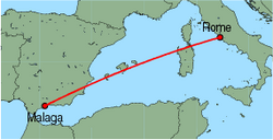 Map of route from Malaga to Rome(Fiumicino)