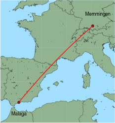 Map of route from Malaga to Memmingen
