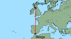 Map of route from Glasgow (International) to Malaga