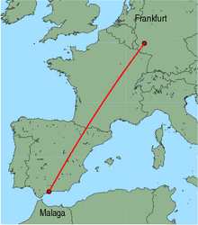 Map of route from Malaga to Frankfurt (Hahn)