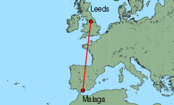Map of route from Leeds Bradford to Malaga