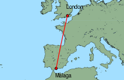 Map of route from London (Gatwick) to Malaga
