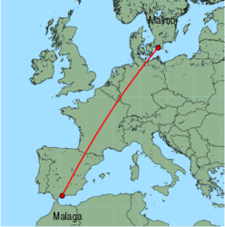 Map of route from Malmo to Malaga