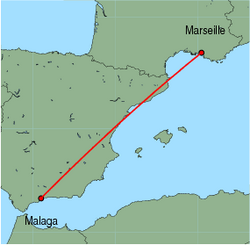 Map of route from Malaga to Marseille