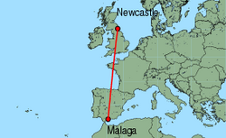 Map of route from Newcastle to Malaga
